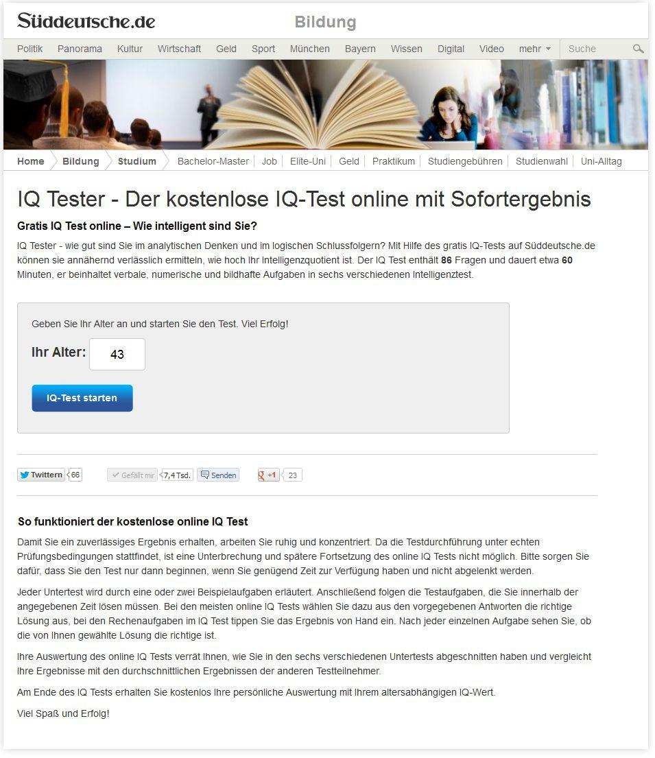 online iq test kostenlos